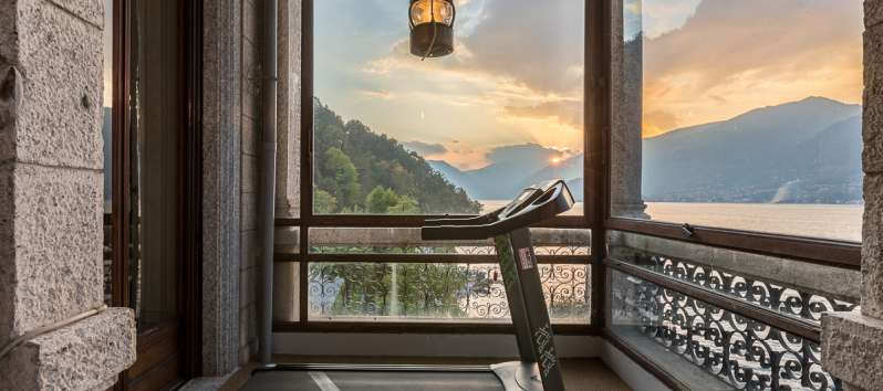 gym in the villa with lake view in the villa in Bellagio